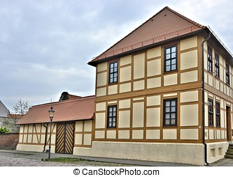 renovated half-timbered house in a small town