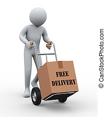 3d man hand truck free delivery - 3d illustration of person...