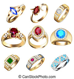 ring set with precious stones on white - illustration ring...