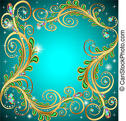 frame with jewels and geometric designs in gold -...