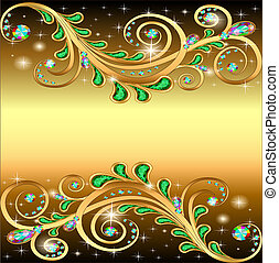 golden background with jewels ornament and stars -...