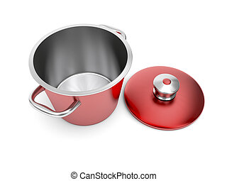Red cooking pot - Red empty cooking pot on white background