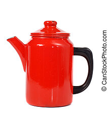 Red coffee pot - Red enamel coffee pot isolated on white