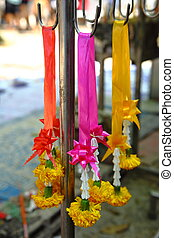 Flower garlands, Thailand - Flower garlands for buddhist...