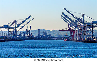 Seattle Washington Port with Red White Cranes Containers and...