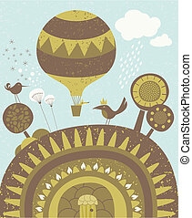 Balloon spring promenade - Happy scene with air balloon...