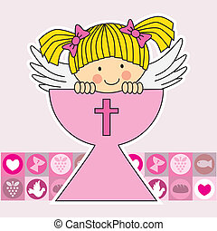 First communion card Angel within a holy grail