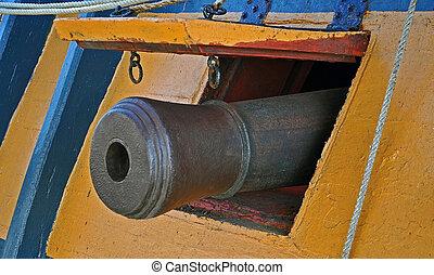 Naval Deck Gun - The Naval Deck Gun of an Old Sailing...