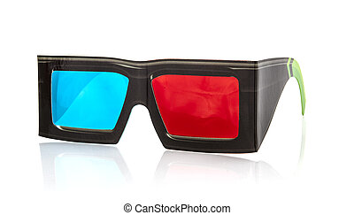 3d glasses on white background