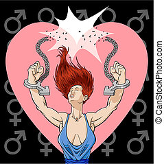 Free woman - Conceptual illustration against the violence on...