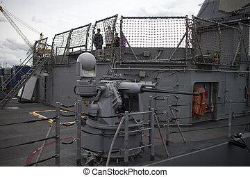 máquina, barco, a bordo de, guerra, arma de fuego