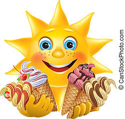 Funny sun with delicious ice creams. Contains transparent...