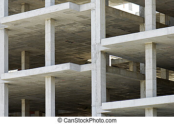 building made with precast concrete slabs - unfinished...