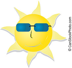 Cool sun - Smiling sun with sunglasses