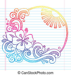 Hibiscus Tropical Summer Doodle - Hibiscus Flower Tropical...