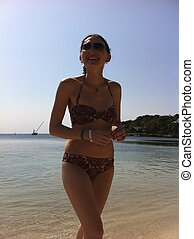 Roatan Beach Vacation - Tropical Vacation: Woman in Bikini...