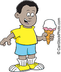 Cartoon African boy eating an ice c - Cartoon illustration...
