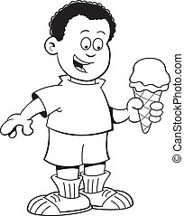 Cartoon African boy eating an ice c - Black and white...