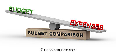 3d budget and expenses on balance - 3d illustration of...