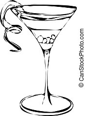 Vector of Cocktail Alcohol Drink - Black and white isolated...