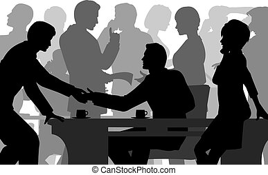 Crowded office - Editable vector silhouettes of people in a...