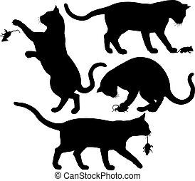Cat and mouse - Four editable vector silhouettes of a cat...