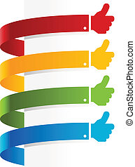 Colorful Thumbs Up Banners - Colorful set of thumbs up paper...
