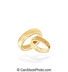 gold wedding rings isolated, vector illustration