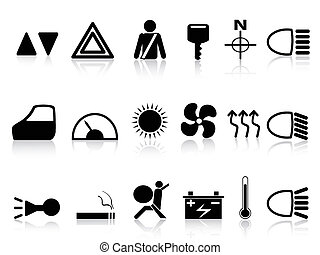 car dashboard icons set - isolated black car dashboard icons...