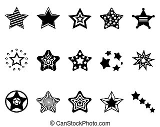 stars icon collection - isolated black stars icon collection...