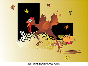 comic turkey running - thanksgiving design, vector...