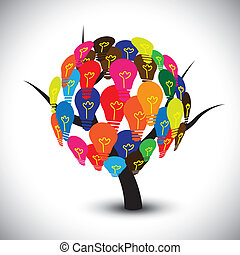 Vector graphic of idea tree with colorful bulbs as...