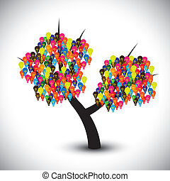 Vector graphic of idea tree with colorful bulbs as solutions...