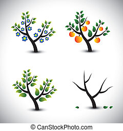 Abstract tree in spring, summer, autumn & winter-vector graphic. The illustration represents four seasons and the tree in those seasons