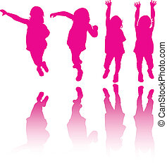 Little girl modeling or dancing silhouette background vector