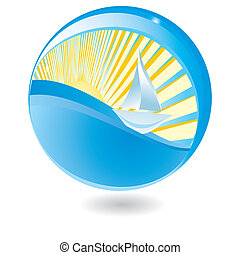 Sailing ship in sphere, vector illustration