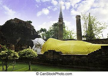 Reclining Buddha image, Wat Yai Chaimongkol in Ayutthaya.