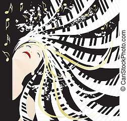 Music lady with piano keyboard hair
