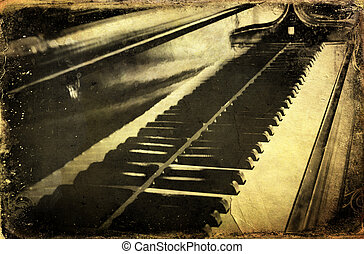 Grunge piano musical background and added paper texture