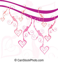 swirly hearts vector illustration