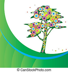 Funky tree - vector illustration of Funky tree background...