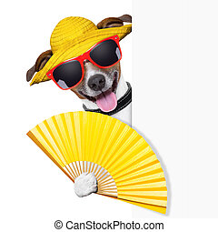 summer cocktail dog cooling of with hand fan behind banner