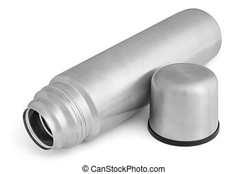 Metal thermos on a white background