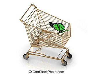 Green butterfly flew to the basket supermarket