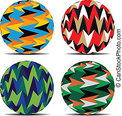 Set of colorful background on balls