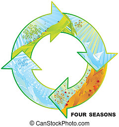 Four seasons circle vector illustration with copy space