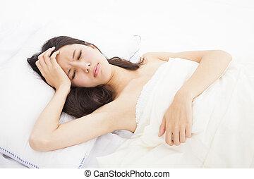 doente, mulher, cama, Tocar, dela, cabeça