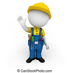 white people working as plumber - 3d rendered illustration...