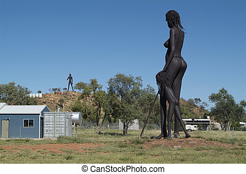 Australia, Northern Territory - giant Aborigines sculpture,...