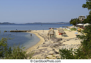 Greece, Athos peninsula - Greece, empty beach in Ouranoupoli...